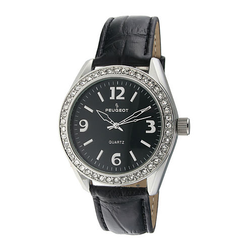 Peugeot® Womens Crystal-Accent Black Leather Strap Watch