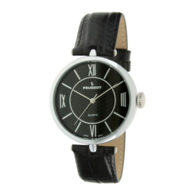 jcpenney.com | Peugeot® Womens Black Leather Strap T-Bar Watch