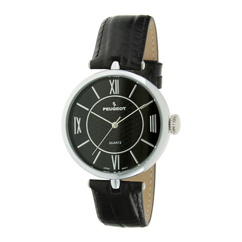 Peugeot® Womens Black Leather Strap T-Bar Watch
