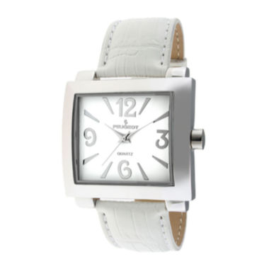 jcpenney.com | Peugeot® Womens White Leather Strap Boyfriend Watch