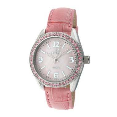 jcpenney.com | Peugeot® Womens Crystal-Accent Pink Leather Strap Watch