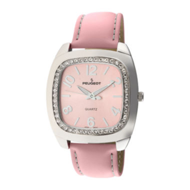 jcpenney.com | Peugeot® Womens Crystal-Accent Pink Leather Strap Boyfriend Watch