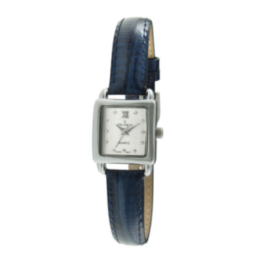 jcpenney.com | Peugeot® Womens Crystal-Accent Blue Leather Strap Petite Watch