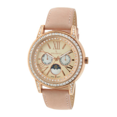 jcpenney.com | Peugeot® Womens Crystal-Accent Pink Leather Strap Moon Phase Watch
