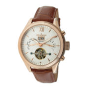 Peugeot® Mens Brown Leather Strap Automatic Watch