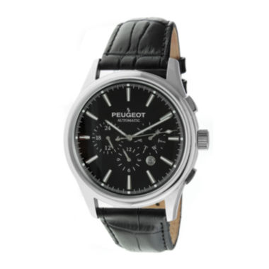 jcpenney.com | Peugeot® Mens Black Dial Black Leather Strap Automatic Watch