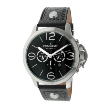jcpenney.com | Peugeot® Mens Black Leather Strap Big Number Automatic Watch