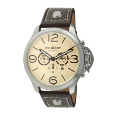 jcpenney.com | Peugeot® Mens Brown Leather Strap Big Number Automatic Watch