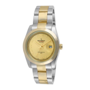 jcpenney.com | Peugeot® Womens Two-Tone Stainless Steel Bracelet Watch