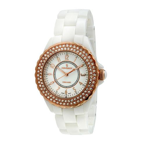 Peugeot® Womens Crystal-Accent Rose-Tone Bezel White Ceramic Bracelet Watch