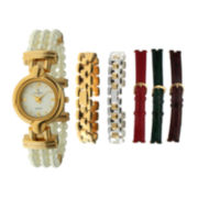 Peugeot® Womens Interchangeable 6-Strap Gold-Tone Case Watch Set