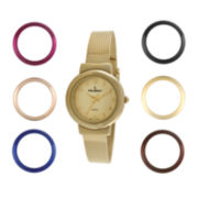 Peugeot® Womens Interchangeable 7-Bezel Gold-Tone Mesh Watch Set