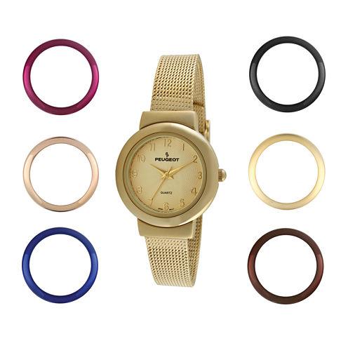 Peugeot® Womens Interchangeable 7-Bezel Gold-Tone Mesh Watch Set