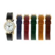 Peugeot® Womens Interchangeable 6-Strap Silver-Tone Case Watch Set
