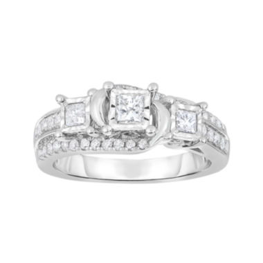 jcpenney.com | TruMiracle® 3/4 CT. T.W. Diamond 10K White Gold Princess-Cut 3-Stone Bridal Ring