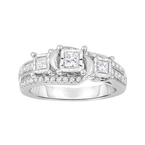 TruMiracle® 3/4 CT. T.W. Diamond 10K White Gold Princess-Cut 3-Stone Bridal Ring