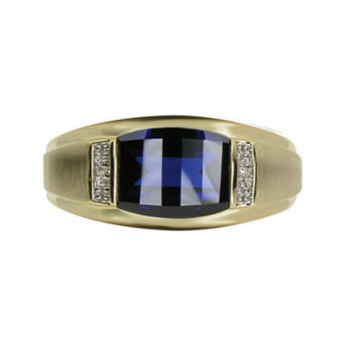 jcpenney.com | Mens Lab-Created Blue Sapphire & Diamond-Accent 10K Yellow Gold Ring