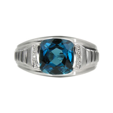 jcpenney.com | Mens Genuine Blue Topaz & Diamond-Accent Sterling Silver Ring