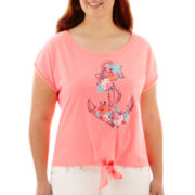 Arizona Short-Sleeve Nautical Tie-Front Tee - Plus