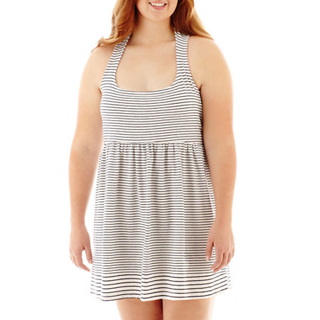Arizona Sleeveless Striped Skater Dress - Plus