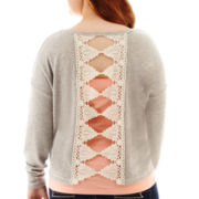 Arizona Long-Sleeve Crochet Bow-Back Sweatshirt - Plus