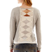 Arizona Long-Sleeve Crochet Bow-Back Sweatshirt