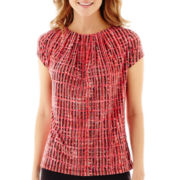 Liz Claiborne® Short-Sleeve Pleat-Neck Top - Petite