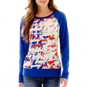 jcp™ Long-Sleeve Mixed Media Sweatshirt