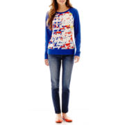 jcp™ Mixed Media Sweatshirt or Skinny Jeans