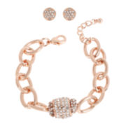 Worthington® Rose Gold-Tone Chain Crystal Barrel Bracelet and Stud Earring Set