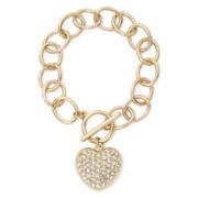 Gold-tone Pavé Heart Bracelet