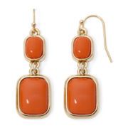 Liz Claiborne® Orange Gold-Tone Double-Drop Earrings