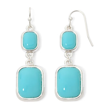 jcpenney.com | Liz Claiborne® Teal Silver-Tone Double-Drop Earrings
