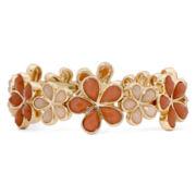 Liz Claiborne® Peach Stone Gold-Tone Stretch Blossom Bracelet