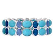 Liz Claiborne® Blue Stone Silver-Tone Stretch Bracelet