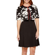 Perceptions Short-Sleeve Floral Structured Jacket Dress - Petite