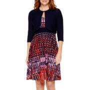Danny & Nicole® 3/4-Sleeve Textured Jacket Dress - Petite