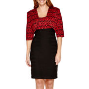 R&M Richards 3/4-Sleeve Lace Shutter-Pleat Jacket Dress - Petite