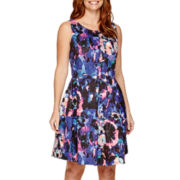 DQT Sleeveless All-Over Floral Fit-and-Flare Dress - Petite