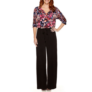 jcpenney.com | London Times Elbow-Sleeve Print Top Jumpsuit - Petite