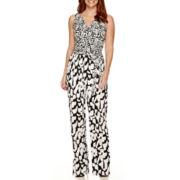 London Times Sleeveless V-Neck Drawstring Jumpsuit - Petite