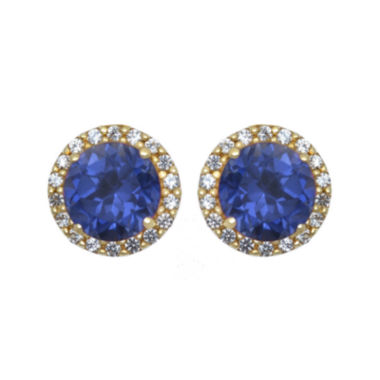 jcpenney.com | Lab-Created Blue and White Sapphire Halo Earrings