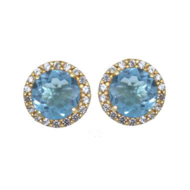 jcpenney.com | Genuine Swiss Blue Topaz and Lab-Created White Sapphire Halo Earrings