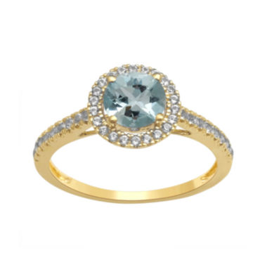 jcpenney.com | Genuine Aquamarine and Lab-Created White Sapphire 10K Yellow Gold Halo Ring
