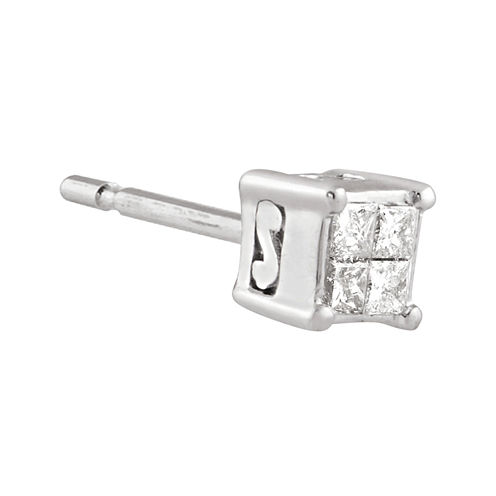 10K White Gold Diamond-Accent Half Stud Earring
