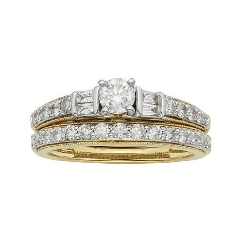 1 CT. T.W. Certified Diamond 14K Two-Tone Gold Bridal Ring Set