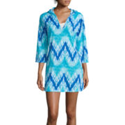 Portocruz® Long Sleeve Tie-Dye V-Neck Hoodie Cover-Up
