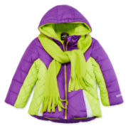 Pacific Trail Puffer Jacket and Scarf - Toddler Girls 2t-4t
