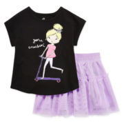Okie Dokie® Printed High-Low Tee, Dolman Tee, Leggings Or Ruffle Tutu Skirt- Toddler Girls 2t-5t