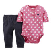 Carter's® Short-Sleeve Dot-Print Bodysuit and Pants Set - Baby Girls newborn-24m
